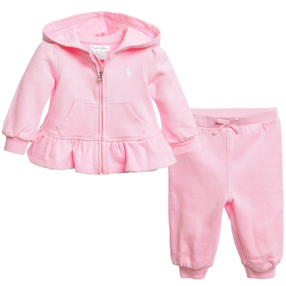 Ralph Lauren Baby Girls Pink Frill Trackuit Children Boutique