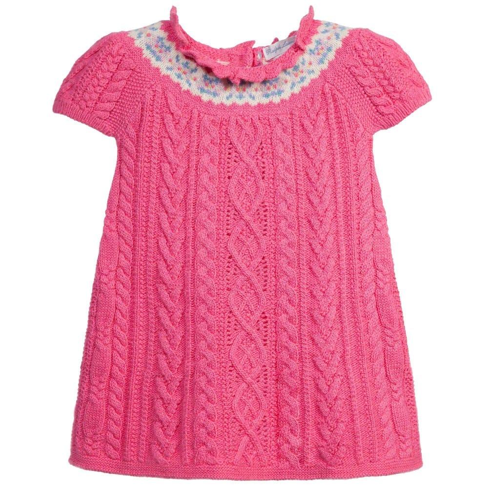 camicetta O ricarica  RALPH LAUREN Baby Girls Pink Knitted Dress - Children Boutique