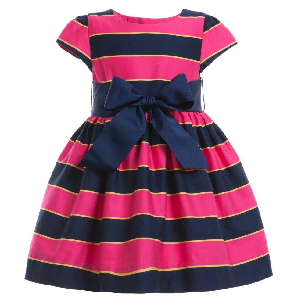 RALPH LAUREN Baby Girls Pink Stripe Dress & Knickers - Children Boutique