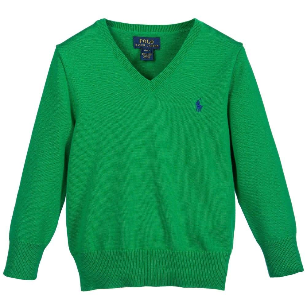 Ralph Lauren Boys Green V Neck Cotton Sweater Children