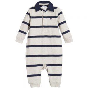 Ralph Lauren Boys Grey & Navy Blue Stripe Babygrow