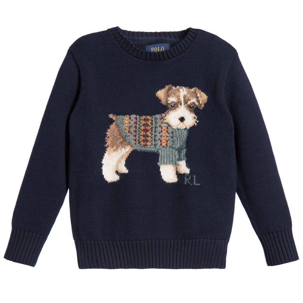 Ralph Lauren Boys Navy Blue Knitted Puppy Sweater