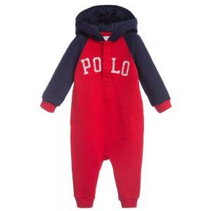 Ralph Lauren Boys Red Hooded Sweatshirt Jersey Babygrow