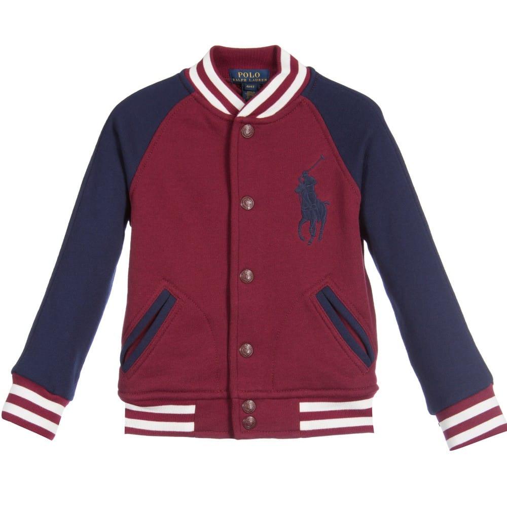 RALPH LAUREN Boys Red & Navy Blue Jersey Varsity Jacket ...