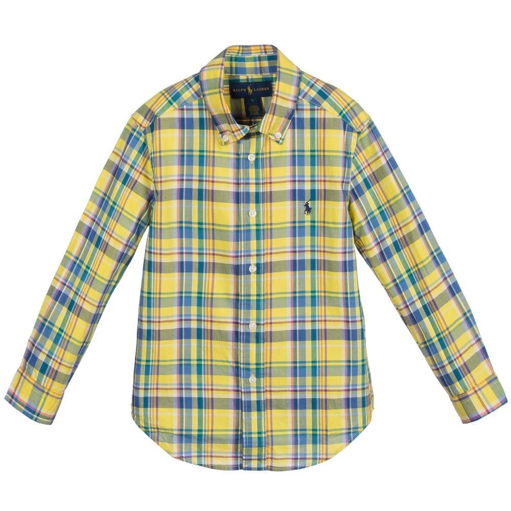 Ralph Lauren Boys Yellow Check Cotton Shirt Children