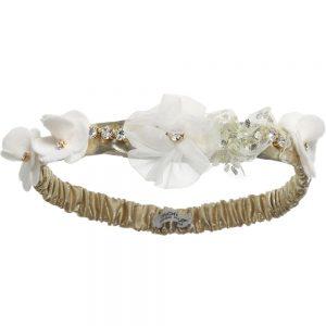 Simonetta Baby Girls Gold Headband with Ivory Flowers