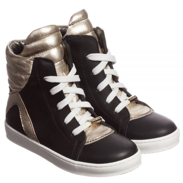 Simonetta Black and Gold Leather High-Top Trainers