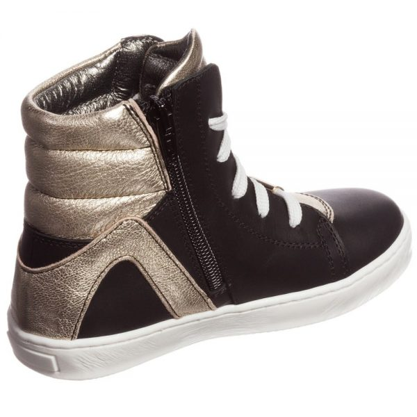 Simonetta Black and Gold Leather High-Top Trainers3