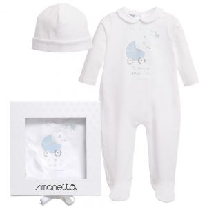 Simonetta Boys Ivory & Blue Babygrow with Hat Gift Set