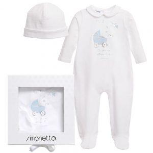 Simonetta Boys Ivory & Blue Babygrow with Hat Gift Set
