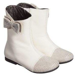 Simonetta Girls Ivory Leather Boots with Diamanté Bow and Toes
