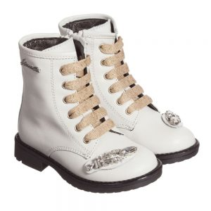 Simonetta Girls Ivory Leather Lace-Up Boots with Diamanté