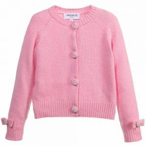 Simonetta Girls Knitted Pink Wool Cardigan