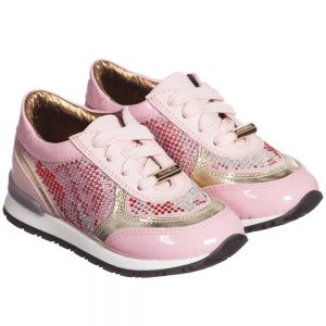 Simonetta Girls Pink Leather Trainers with Diamanté