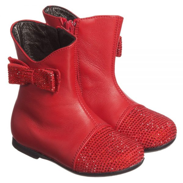 Simonetta Girls Red Leather Boots with Diamanté Bow & Toes
