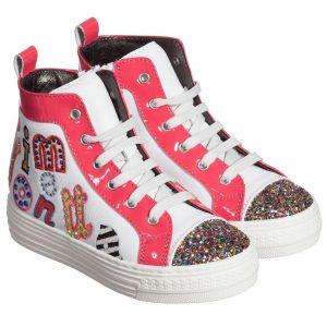 Simonetta Girls White & Pink Leather Glitter Trainers