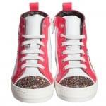 Simonetta Girls White & Pink Leather Glitter Trainers1