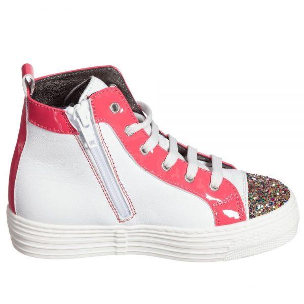 Simonetta Girls White & Pink Leather Glitter Trainers2