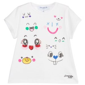 Simonetta Mini Girls Ivory T-Shirt with Sequin Faces