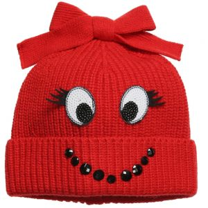 Simonetta Mini Girls Red Knitted Hat with Smiley Face