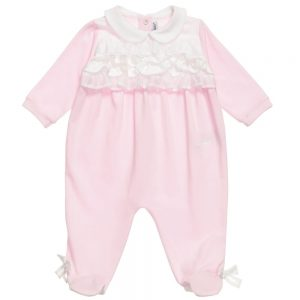 Simonetta Pink Babygrow with White Collar & Ruffle Trim