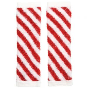 Simonetta Red & White Striped Knitted Leg Warmers