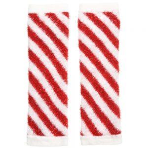 Simonetta Red & White Striped Knitted Leg Warmers