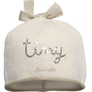 Simonetta Tiny Baby Girls Metallic Gold Knitted Hat