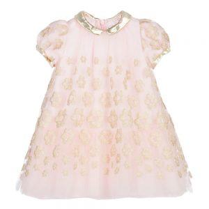 Simonetta Tiny Baby Girls Pink & Gold Tulle Dress