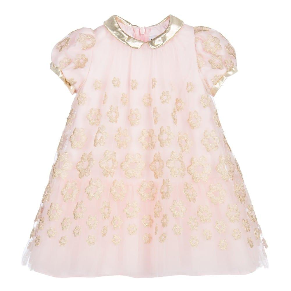 96c84dc1bcc SIMONETTA TINY Baby Girls Pink   Gold Tulle Dress - Children Boutique