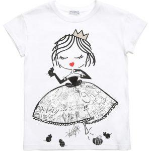 Simonetta White Jersey T-Shirt with Princess Print