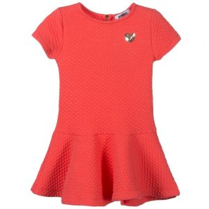 Sonia Rykiel Enfant Coral Pink Quilted Jersey Dress with Heart