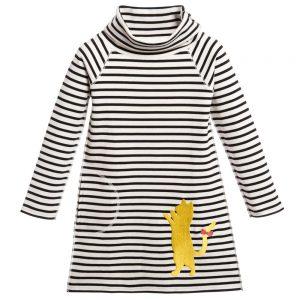Sonia Rykiel Enfant Ivory & Black Stripe Cotton Jersey Dress