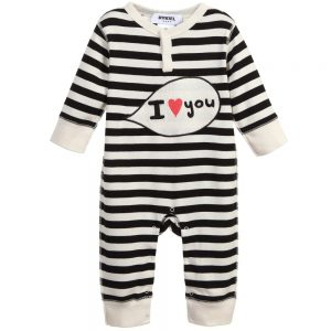 Sonia Rykiel Enfant Ivory & Black Stripe 'I Love You' Babygrow