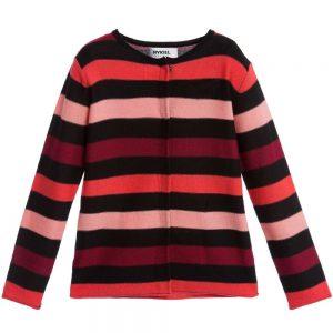 Sonia Rykiel Paris Girls Fine Knit Pink & Black Stripe Cardigan