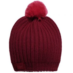 Sonia Rykiel Paris Girls Red Wool Knitted Hat with Pom-Pom