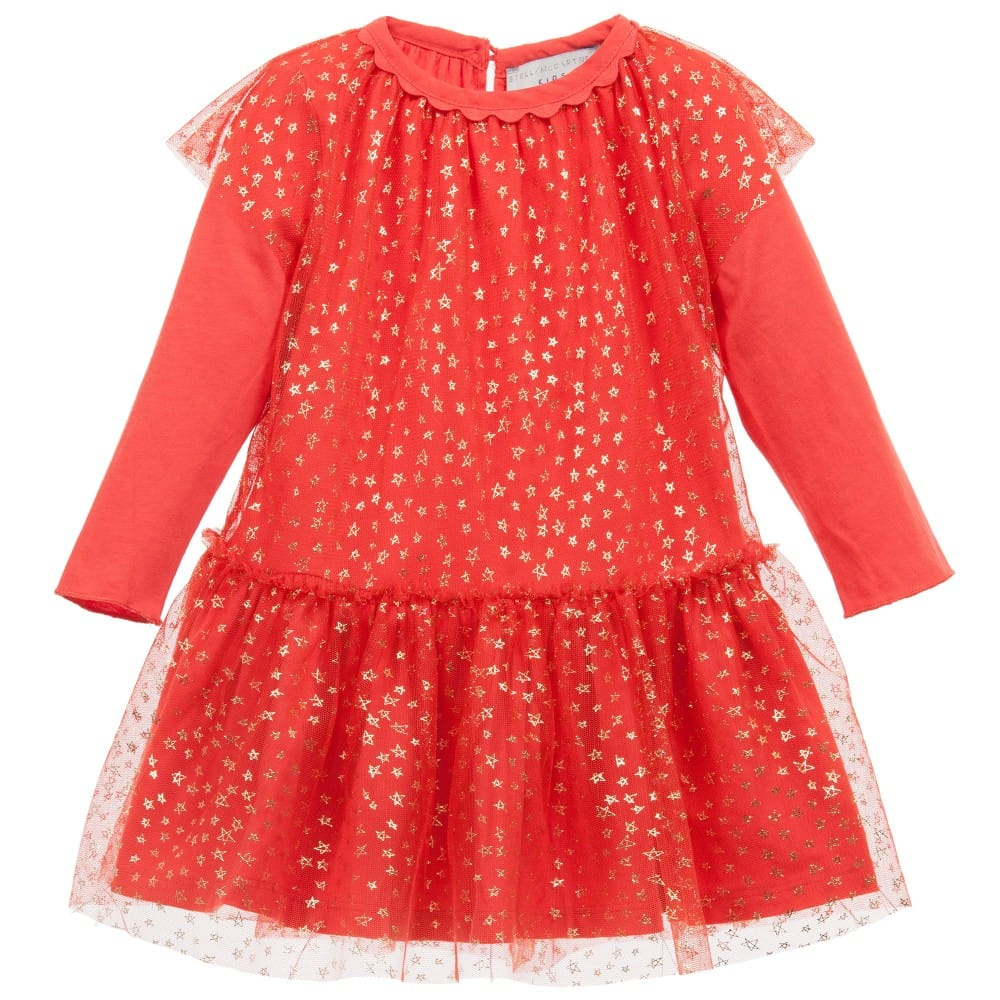 Stella Mccartney Kids Baby Girls Red Tulle Mouse Dress Set