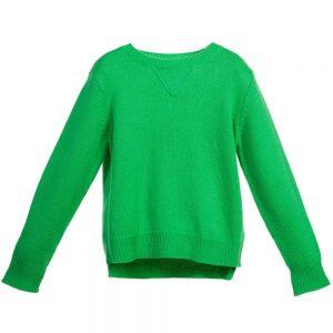 Stella McCartney Kids Boys Green Wool & Cashmere 'Woody' Jumper