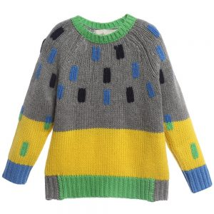 Stella McCartney Kids Boys Grey & Yellow Wool 'Freddie' Sweater