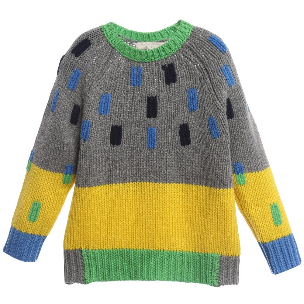 Stella Mccartney Kids Boys Grey Yellow Wool Freddie Sweater