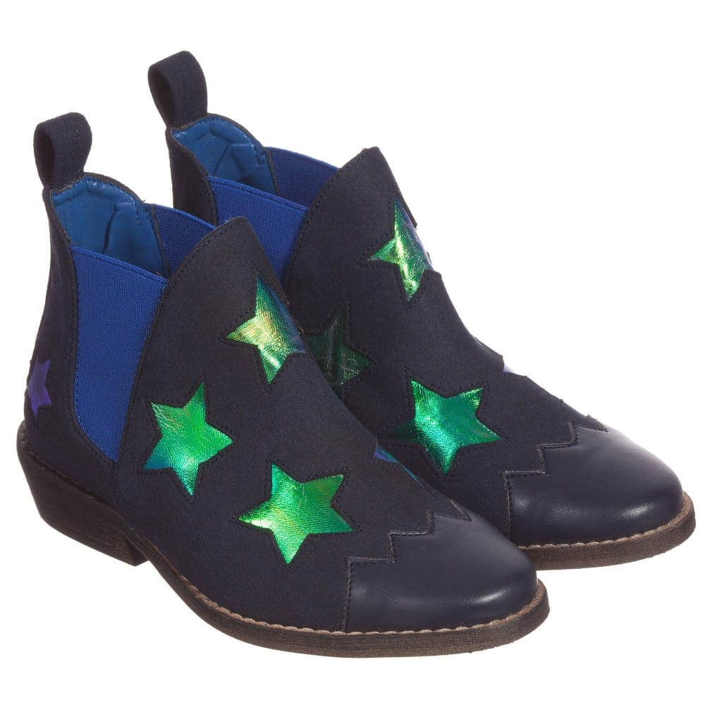 STELLA MCCARTNEY KIDS Girls Navy Blue Shimmer Star 'Lily ...