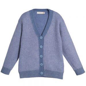 Stella Mccartney kids Girls Pale Blue Mohair Blend 'Betsy' Cardigan