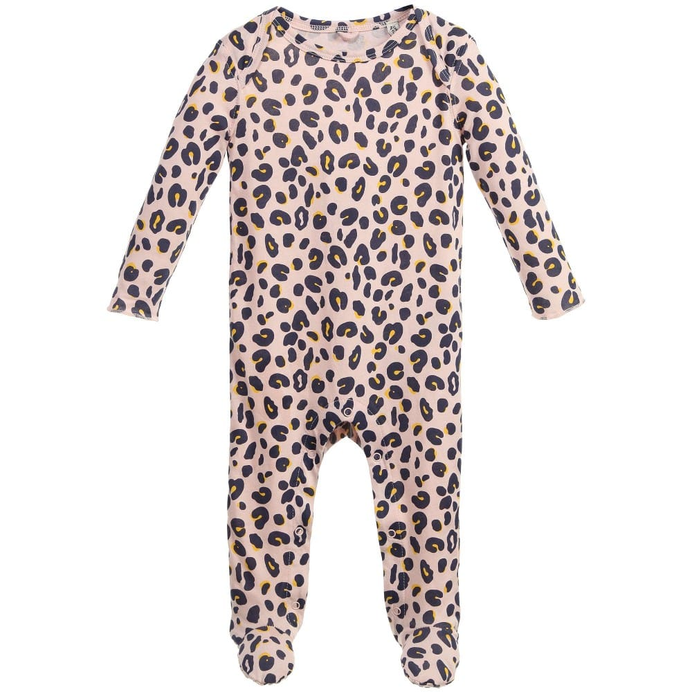 Stella Mccartney kids Girls Pink 'Rufus' Leopard Organic Babygrow