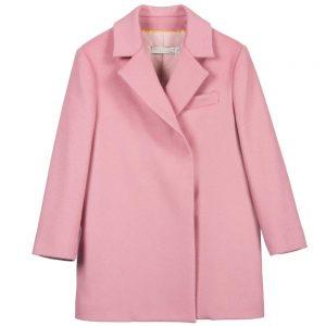 Stella Mccartney kids Girls Pink Wool & Cashmere Blend 'Ediz' Coat