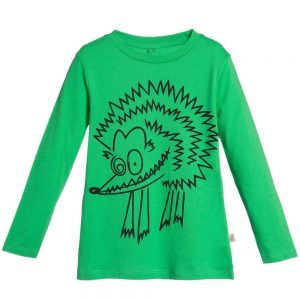 Stella Mccartney kids Green Hedgehog Organic Cotton 'Barley' Top