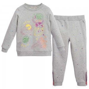 Stella Mccartney kids Grey 'Betty Zoey' Tracksuit with Rainbow Studs