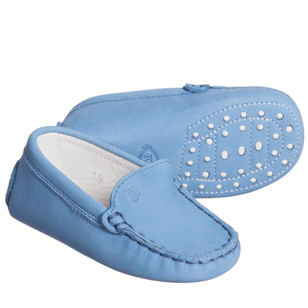 tods pale blue suede leather gommini baby moccasins